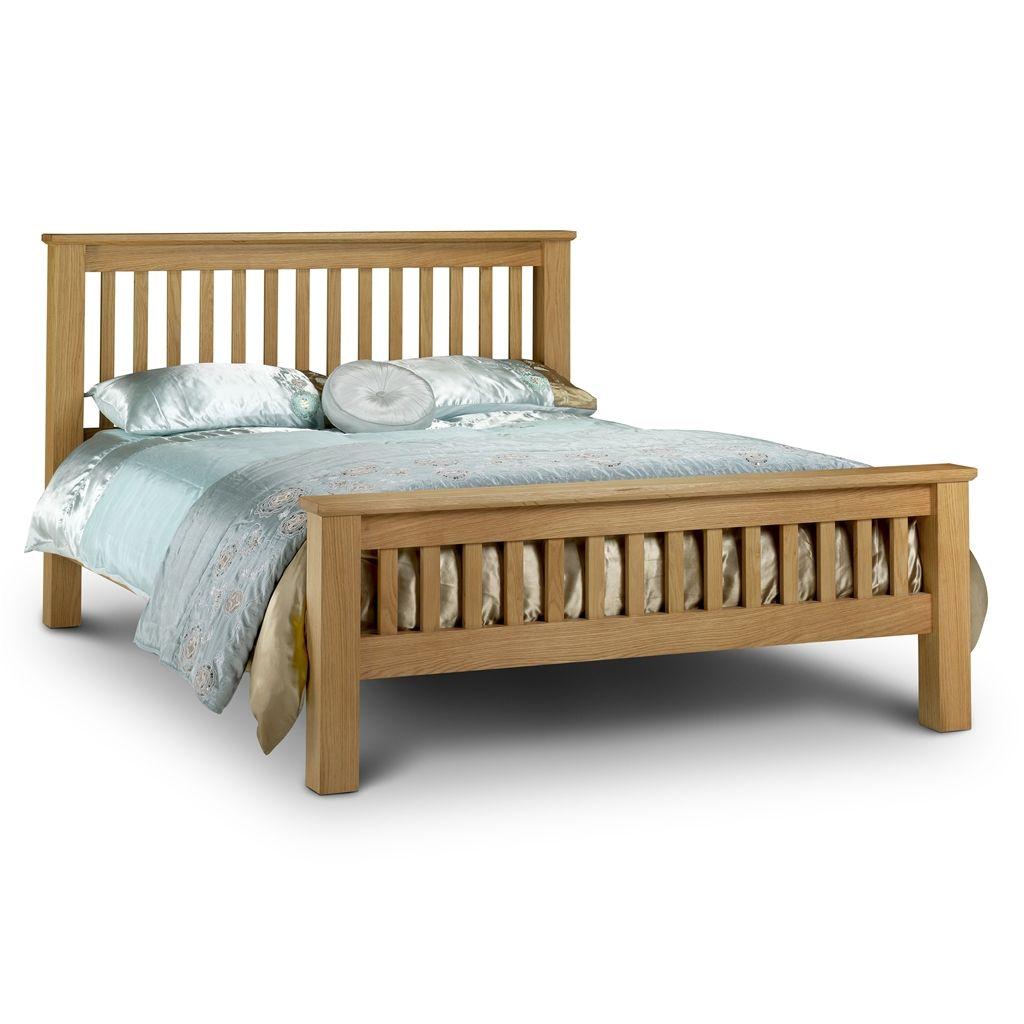 Premium Shaker Style Oak Bed Frame High Foot End Super King