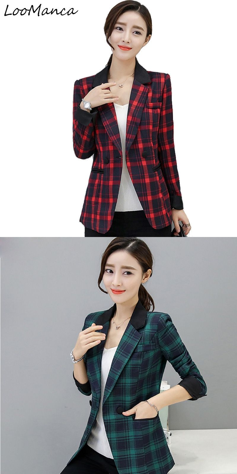 2017 New Fashion Women Blazers and Jackets Korean Style Red Green