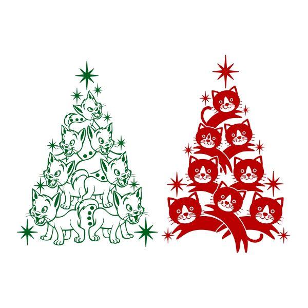 Cat Christmas Tree Svg Cuttable Design Cat Christmas Tree Christmas Cats Silhouette Christmas