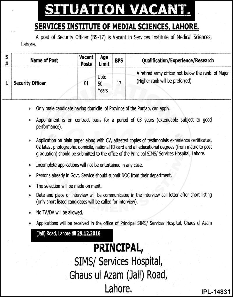 Jobs in Services Institute of Medical Sciences Lahore Dec