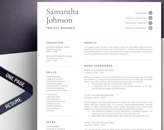 1 Page Resume Template Modern and professional cv template format