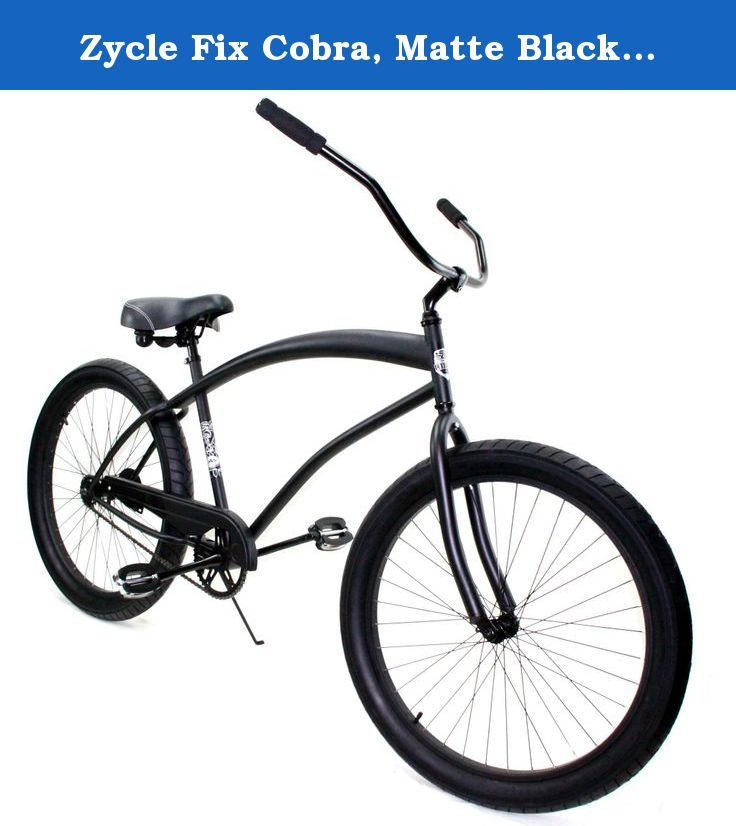 Beach Cruiser Bicycle Cobra Classic Men Black Bike with 26x3.0 tire