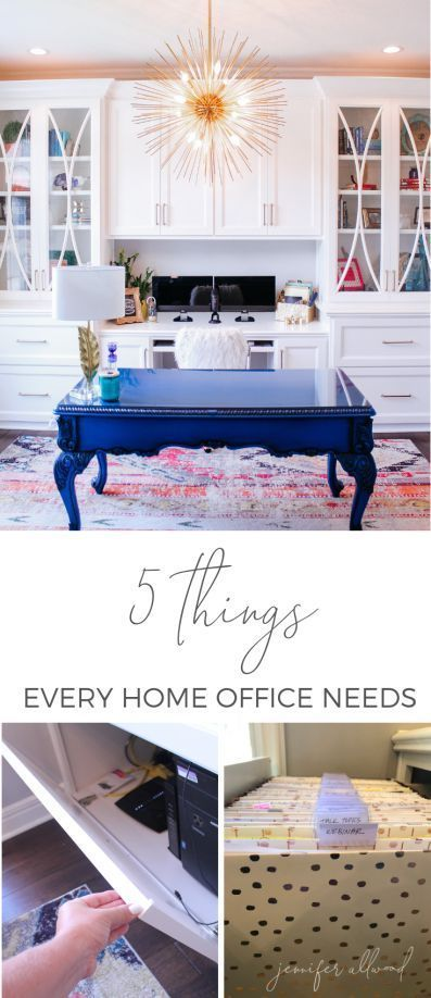 Info's : Work Smart in your #homeoffice #workfromhome with 5 Things Every Home Office Needs by Jennifer Allwood | Home Office Ideas for Women | Home Office Decor | Office Storage Solutions | Home Office Remodel | Office Redesign | Feminine Home Office Organization #girlboss #organization #homeoffice #office
