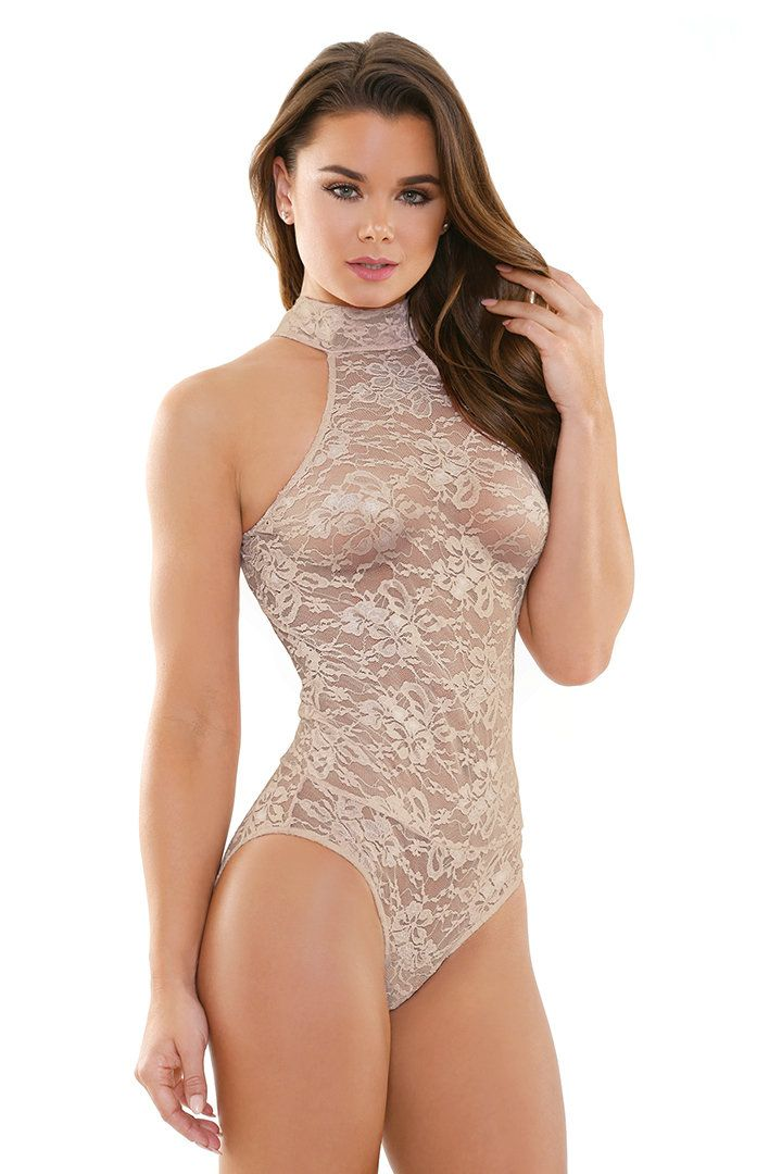 37e083c7ae11 Women's Carissa Nude Lace Halter Playsuit. Wear this nude lace teddy  lingerie bodysuit featuring a