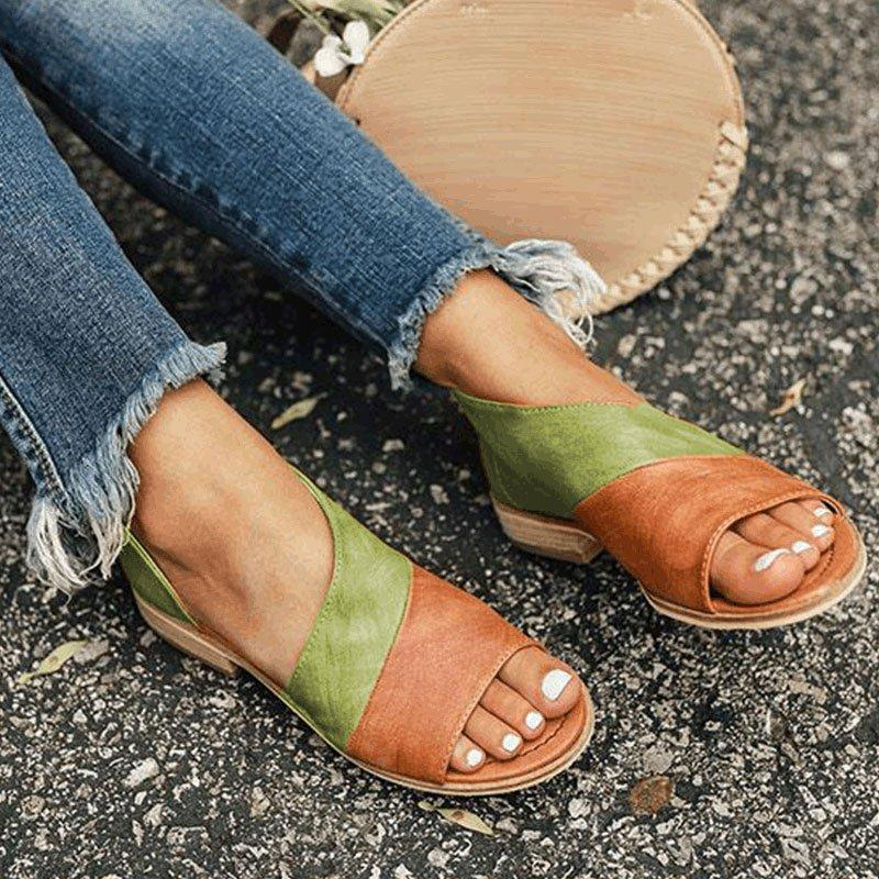 Details about  /Womens Casual Block Heel Slipper Sandals Summer Ladies Shoes PU Leather