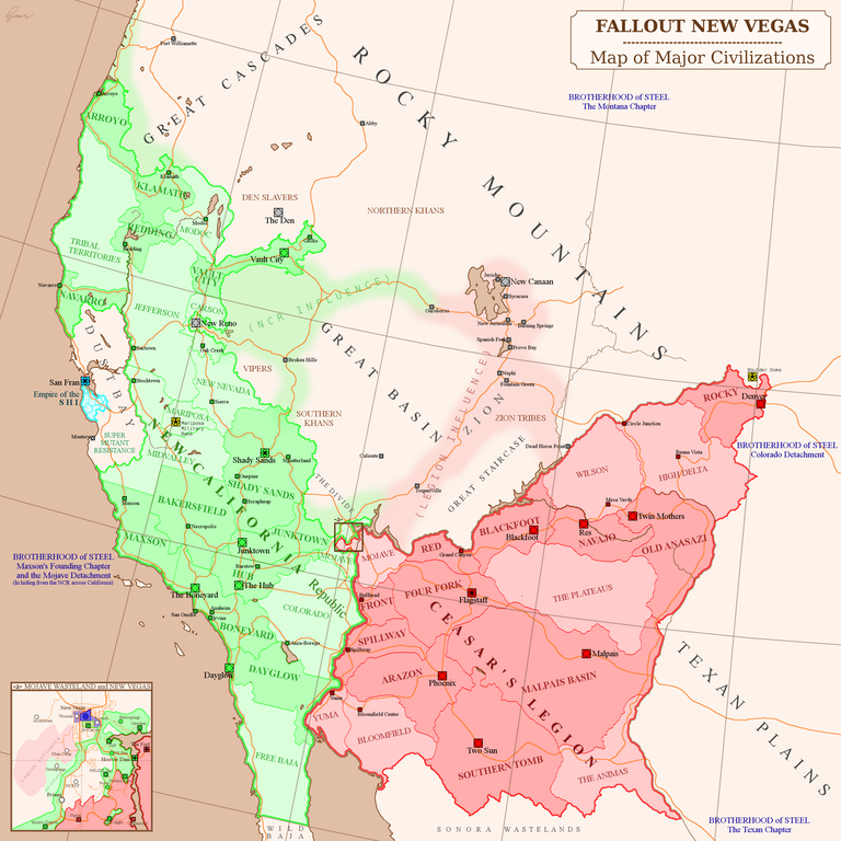 Fallout New Vegas - Map of West Coast Civilizations : imaginarymaps ...