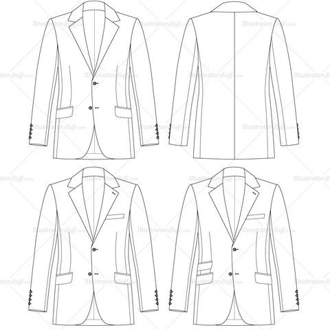 Men's Tailored Fit Jacket Fashion Flat Template