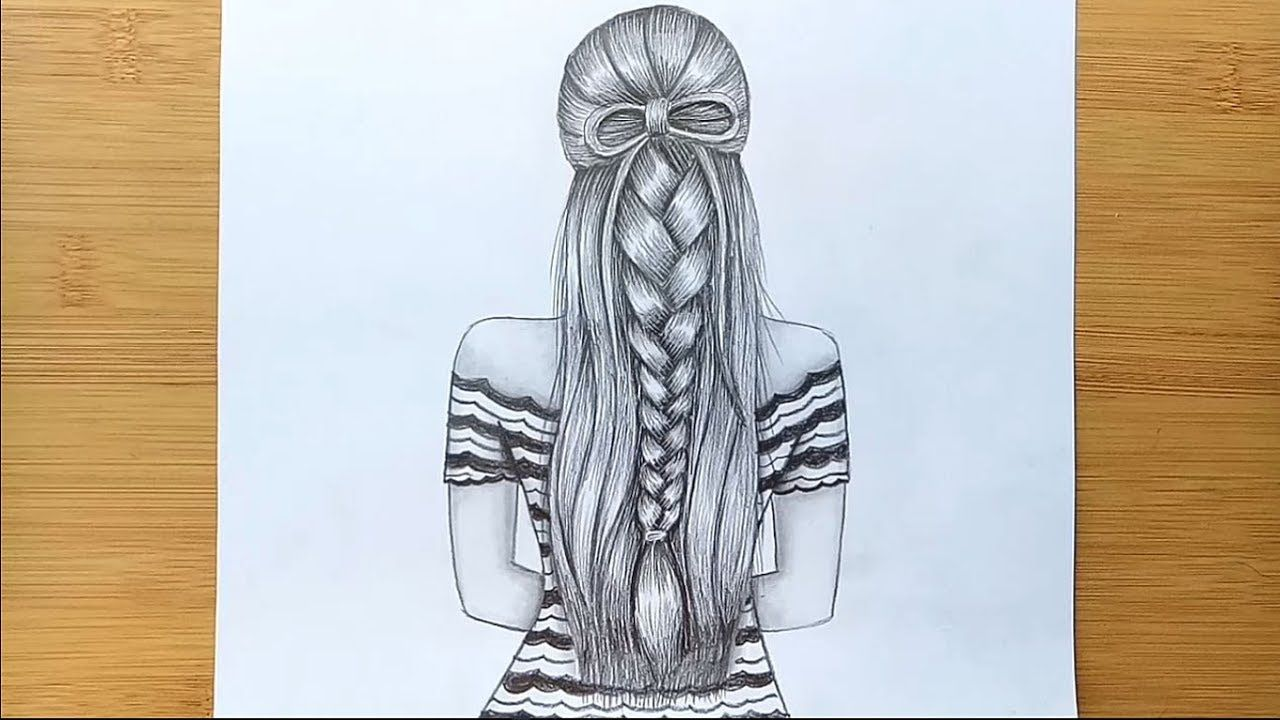 How To Draw A Girl With Beautiful Hairstyle Back Said Drawing