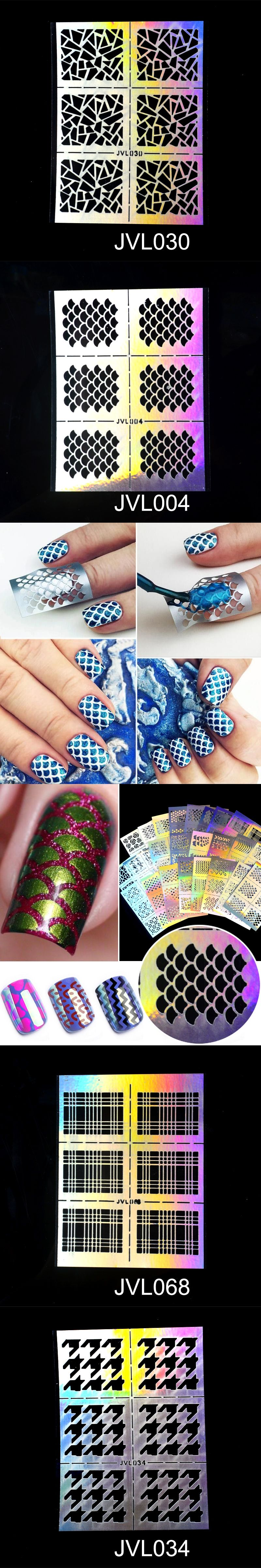 ZKO 1Pc Hollow Out Nail Art DIY Tips Guides Transfer Stickers ...