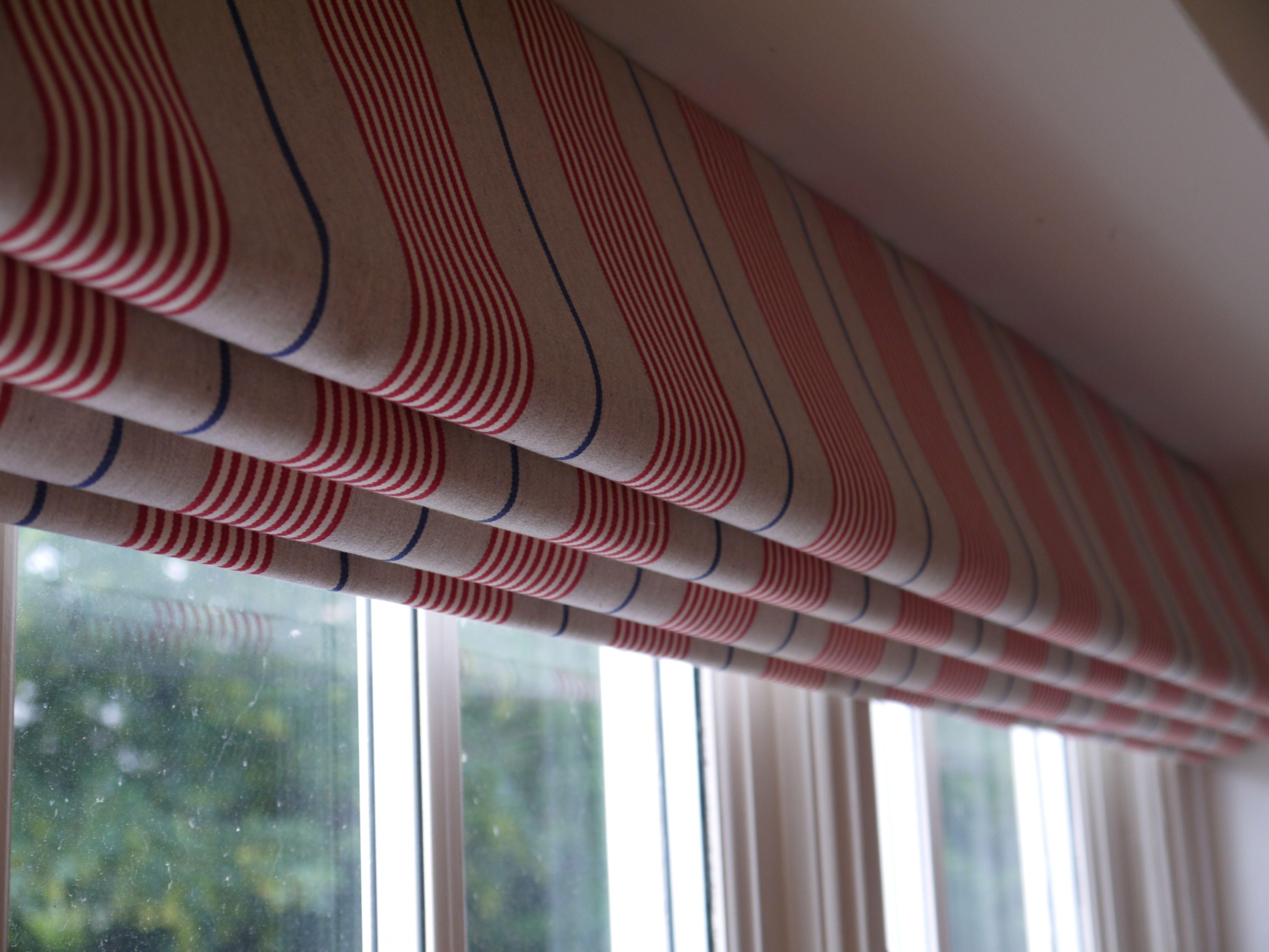 Roman Blind In Ian Mankin Stripes For A Boy39s Bedroom