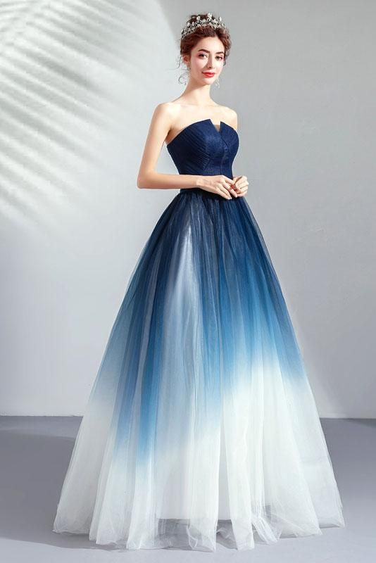 A Line Blue Ombre Prom Dresses Lace Up Sweetheart Strapless Formal Dresses Uk Pw339 Strapless Dress Formal Ombre Prom Dresses Prom Dresses Lace