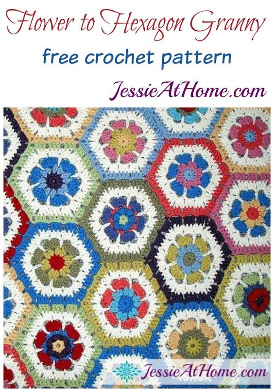 Flower to Hexagon Granny free crochet pattern by Jessie At Home ...