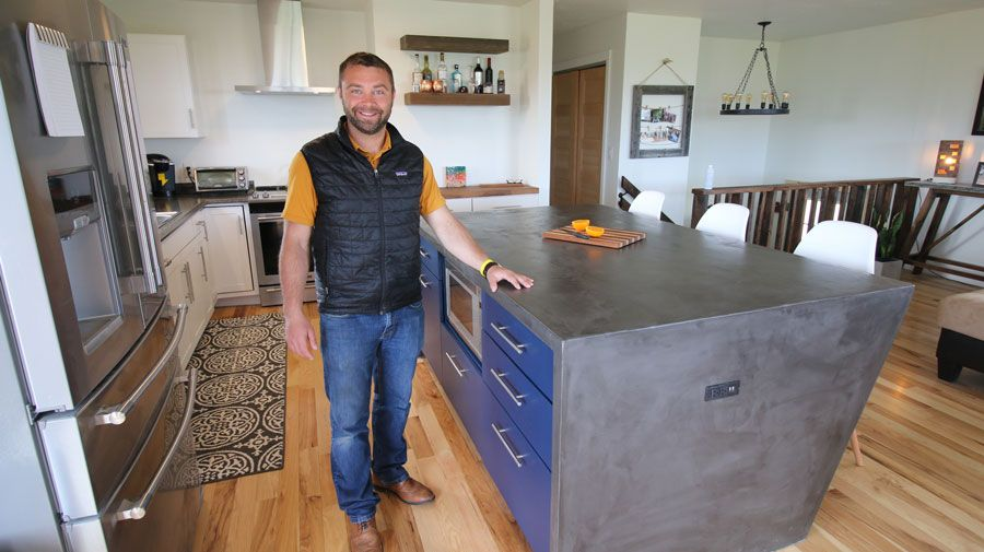 Diy Waterfall Concrete Kitchen Island Concrete Kitchen Island