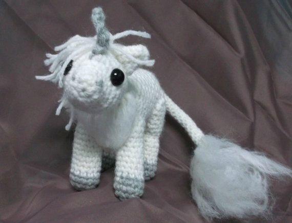 Crochet unicorn amigurumi white unicorn amigurumi by SalemsShop