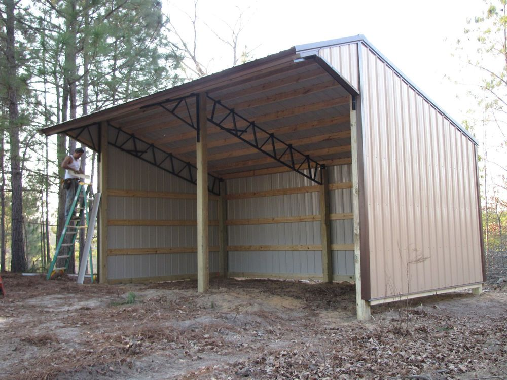 16x24 Run In Shelter Loafing Shed With Steel Truss And