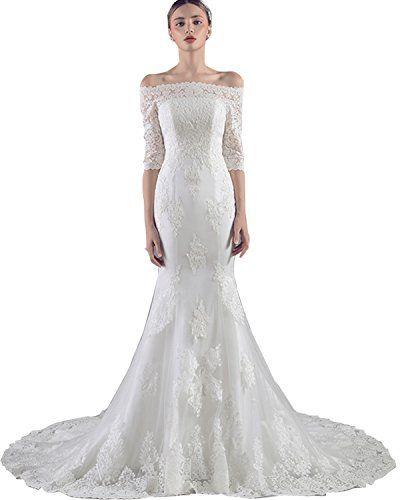 TOBewonder Lace Beaded Beteau Mermaid Wedding Dress With
