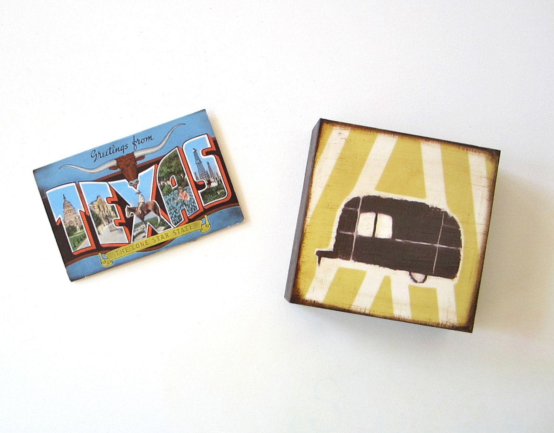 Airstream Trailer Black with Yellow Stripes 5x5 art block on wood austin texas geometric journey travel black red tile studio. $29.00, via Etsy.