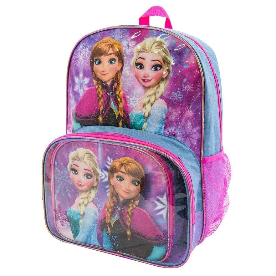 4fc211eb38a Disneys Frozen Anna Elsa Backpack Lunch Tote 2 Piece Set Multi Girls Kids  NEW https