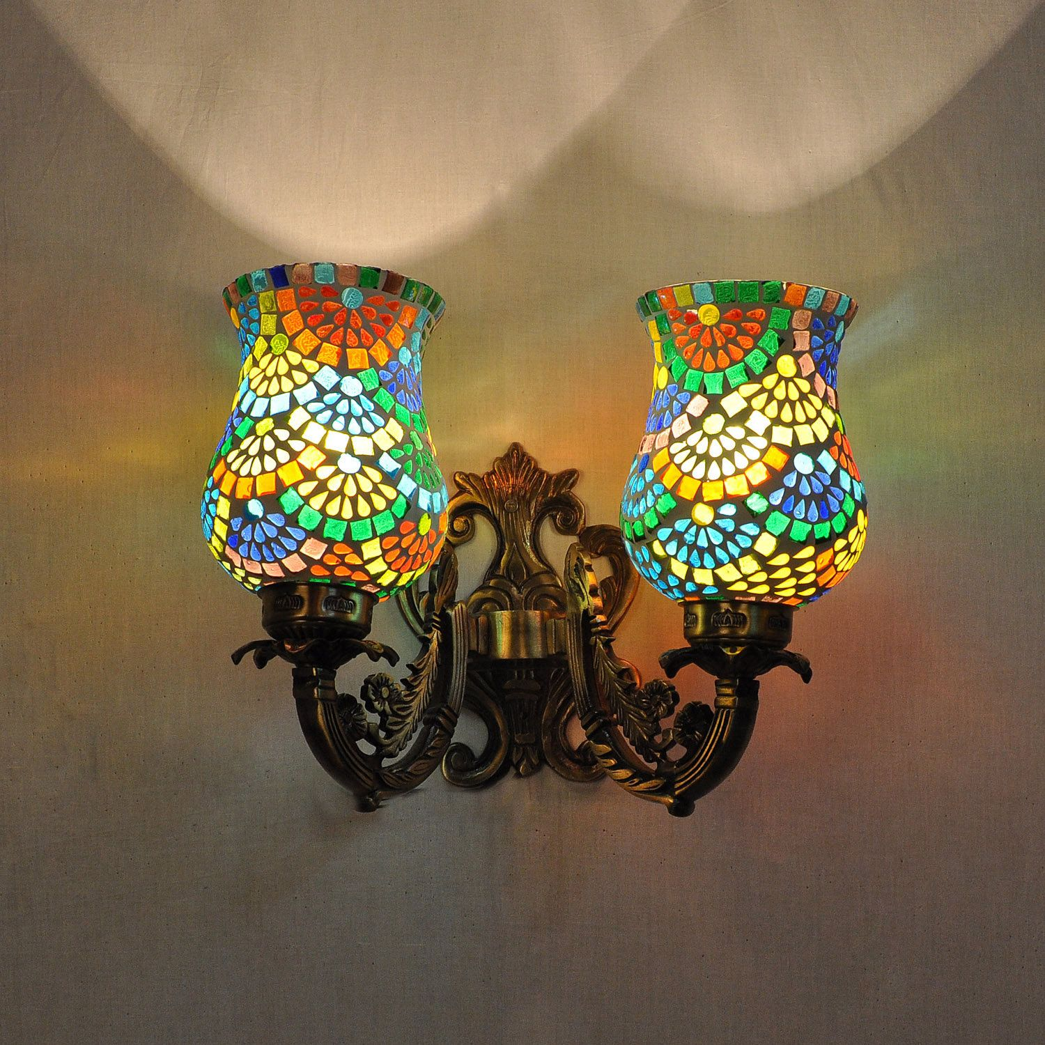 2 Arm Lighting Wall Sconces Multicolor Mosaic Lampshade 2 Wall