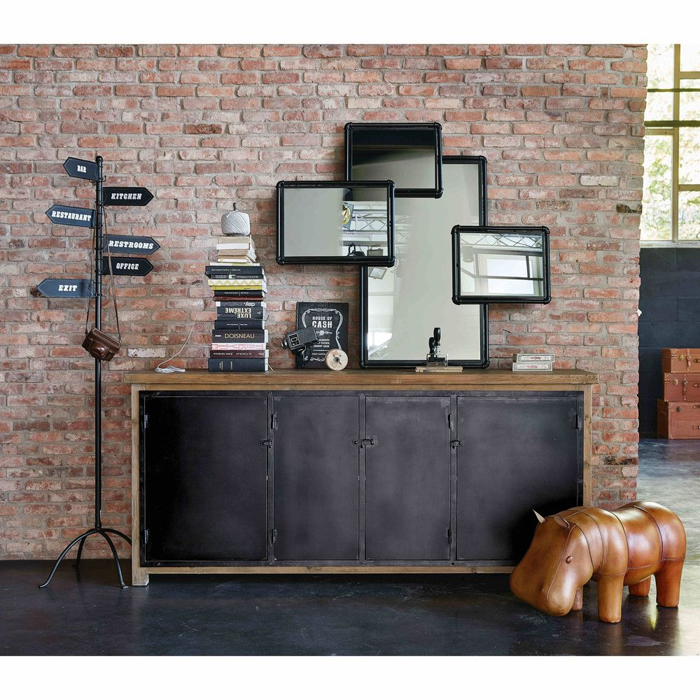 Hudson 4 Black Metal Mirrors Interior Design Dining Room Sideboard Interior