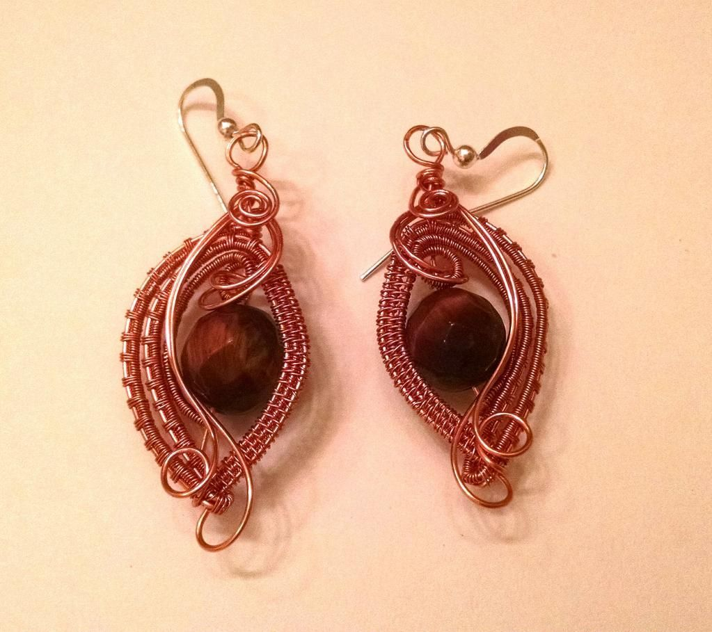 Copper and tiger eye wire weave earrings, made from a totally ...