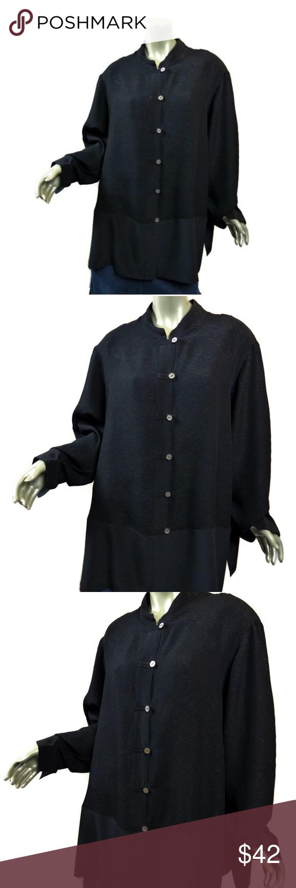 Yi lin black silk tunic sz x floral cloque my posh picks