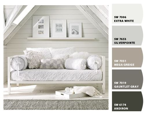 Paint colors by SherwinWilliams  SW Extra White  SW Silverpointe  SW Mega Greige  SW
