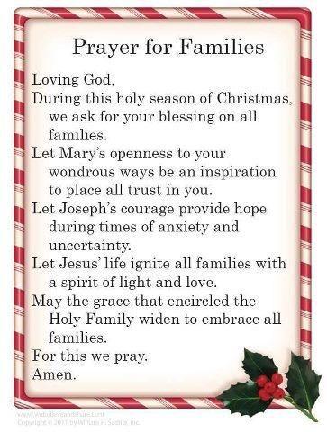 Prayer For Families Christmas Prayer Christmas Poems Prayer For Family