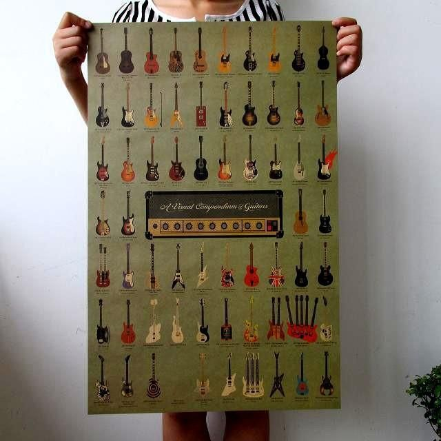 [Visit to Buy] vintage poster Vintage Wallpaper Poster Guitar World #Advertisement