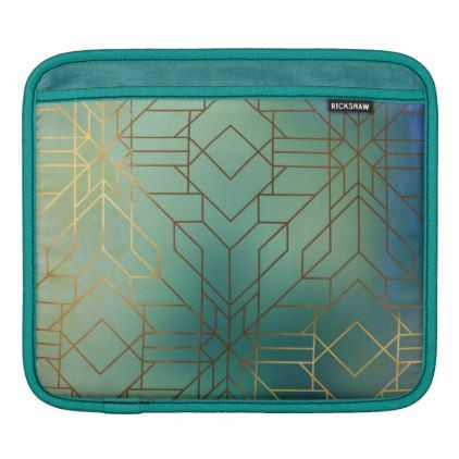Awesome Gold And Emerald Art Deco Pattern Ipad Sleeve   Glam Gifts Unique Diy  Special Glamour
