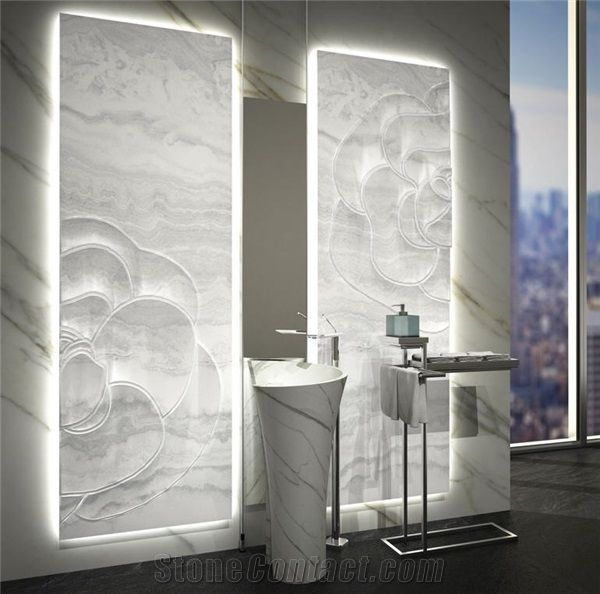 Alabaster Glass Panels : Inlaid backlit white onyx wall panels onice bianco avorio