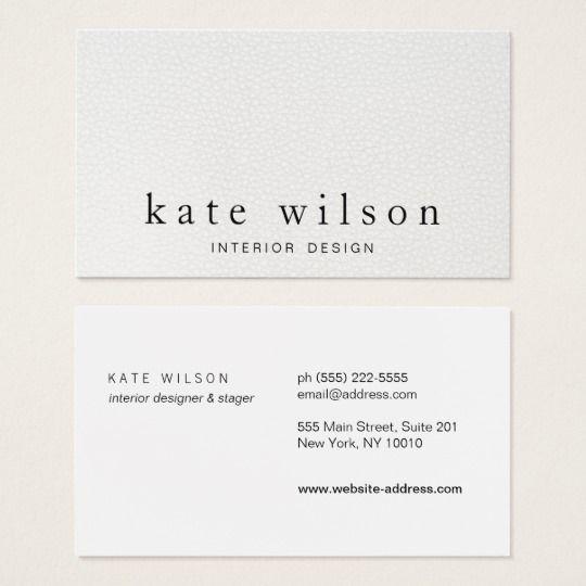 Modern Minimalist White Leather Professional Business Card