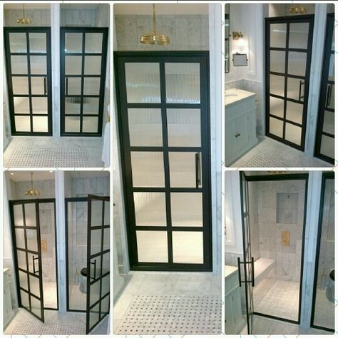 Steel Framed Shower Doors With Black Bronze Anodized Finish And Reeded Glass Gridscape Tdl Seri With Images Steel Framed Shower Doors Framed Shower Door Bathroom Design