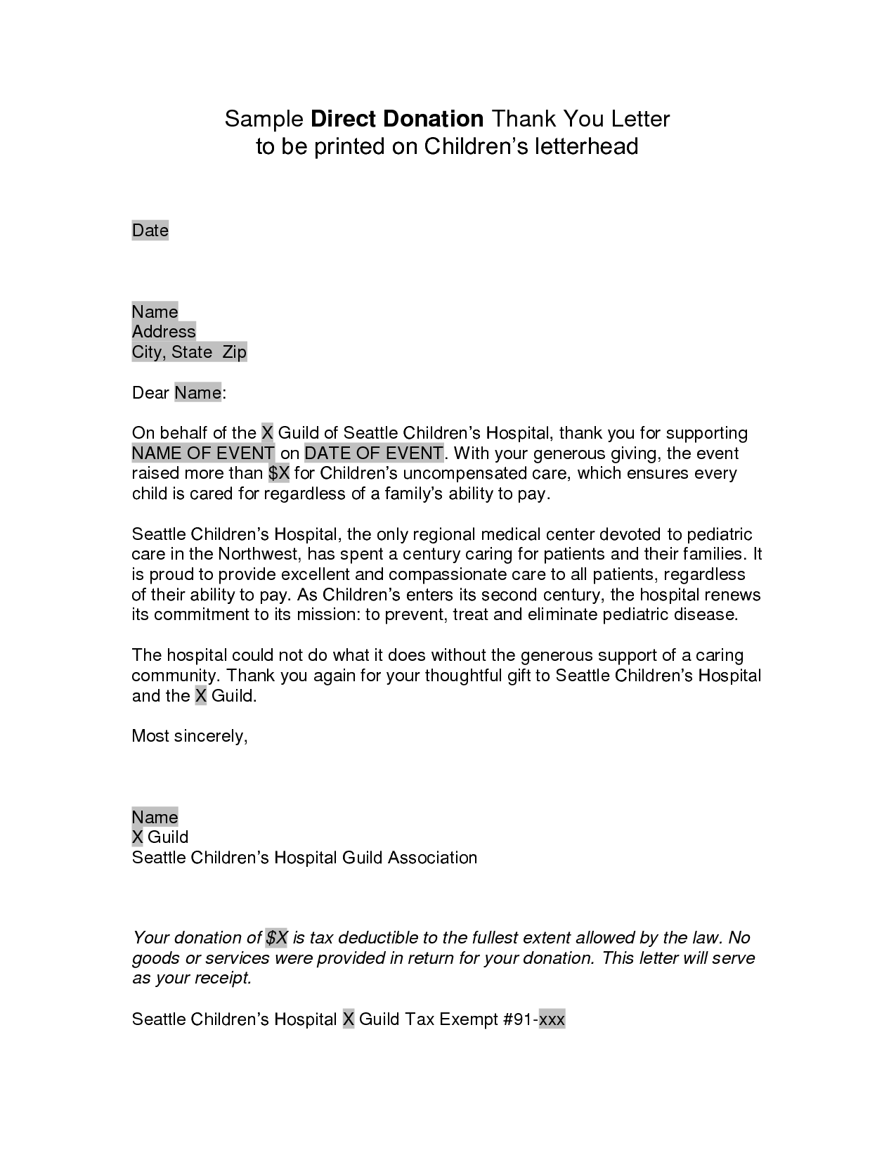 Business fundraising letter - sample fundraising letters for ...