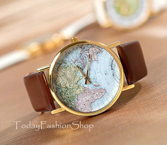 Watches Unisex watches world map Men by TodayFashionShop on Etsy, $13.89