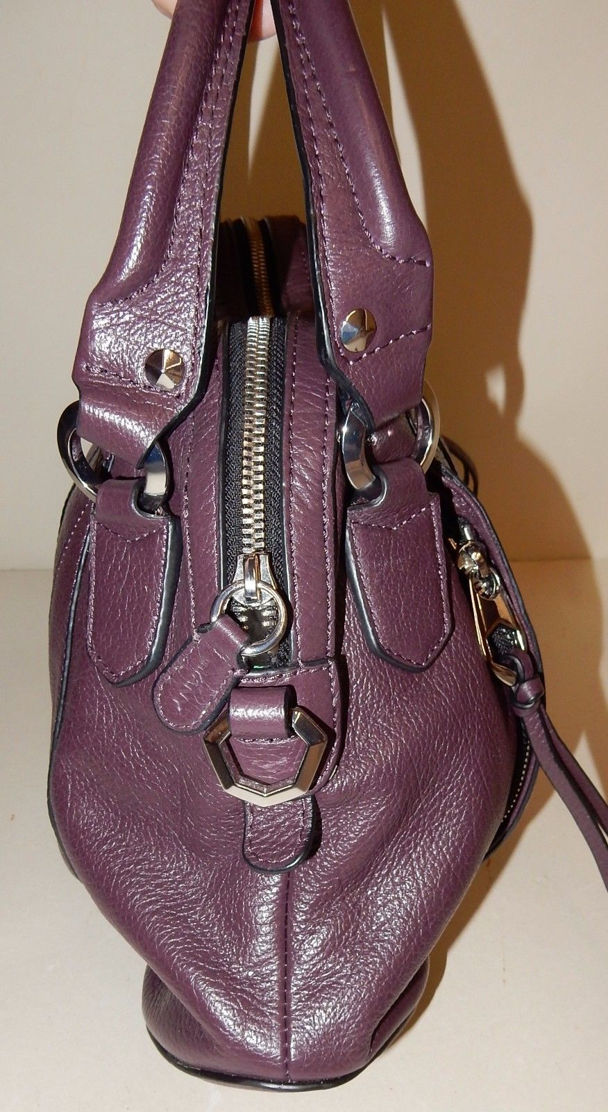 orYANY Trina Italian Leather Satchel Bag in Plum - No ADJ STRAP ...
