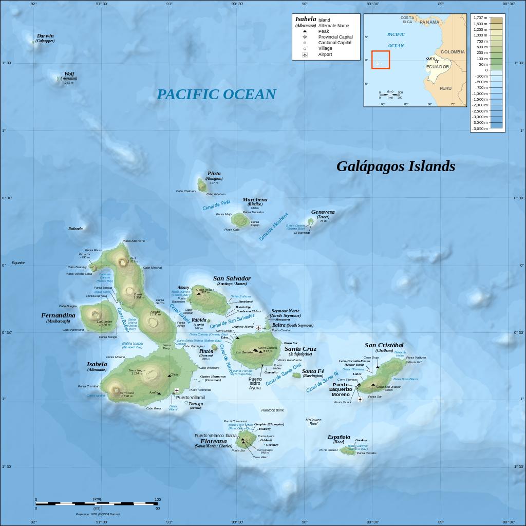 Galapagos Islands Topographic Map En Svg Island Map