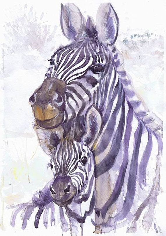 Giclee PRINT Zebra Art Watercolor Painting Africa Nursery Decor Baby Shower Gift