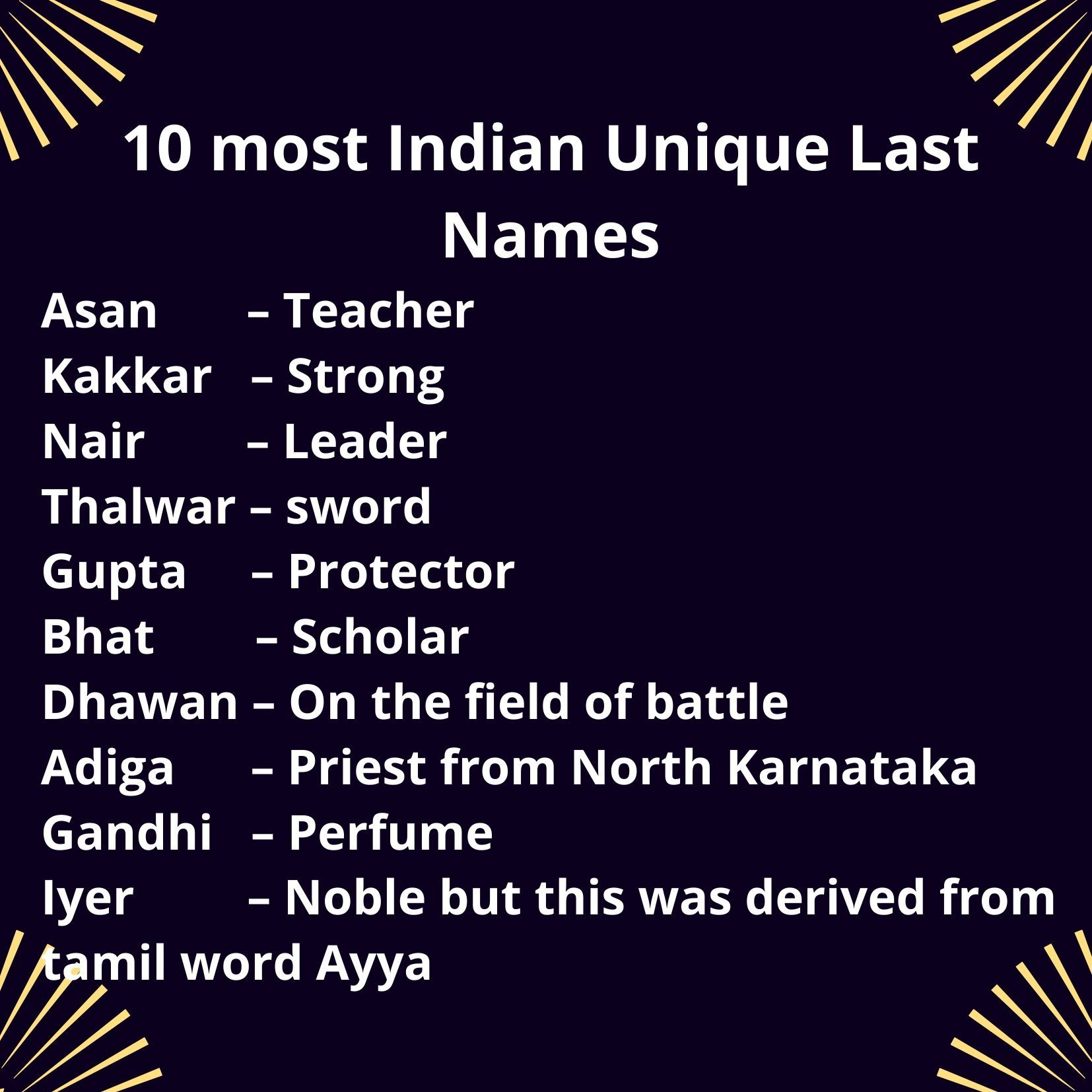 10 Most Indian Unique Last Names In 2020 Old English Words Cool Last Names Names