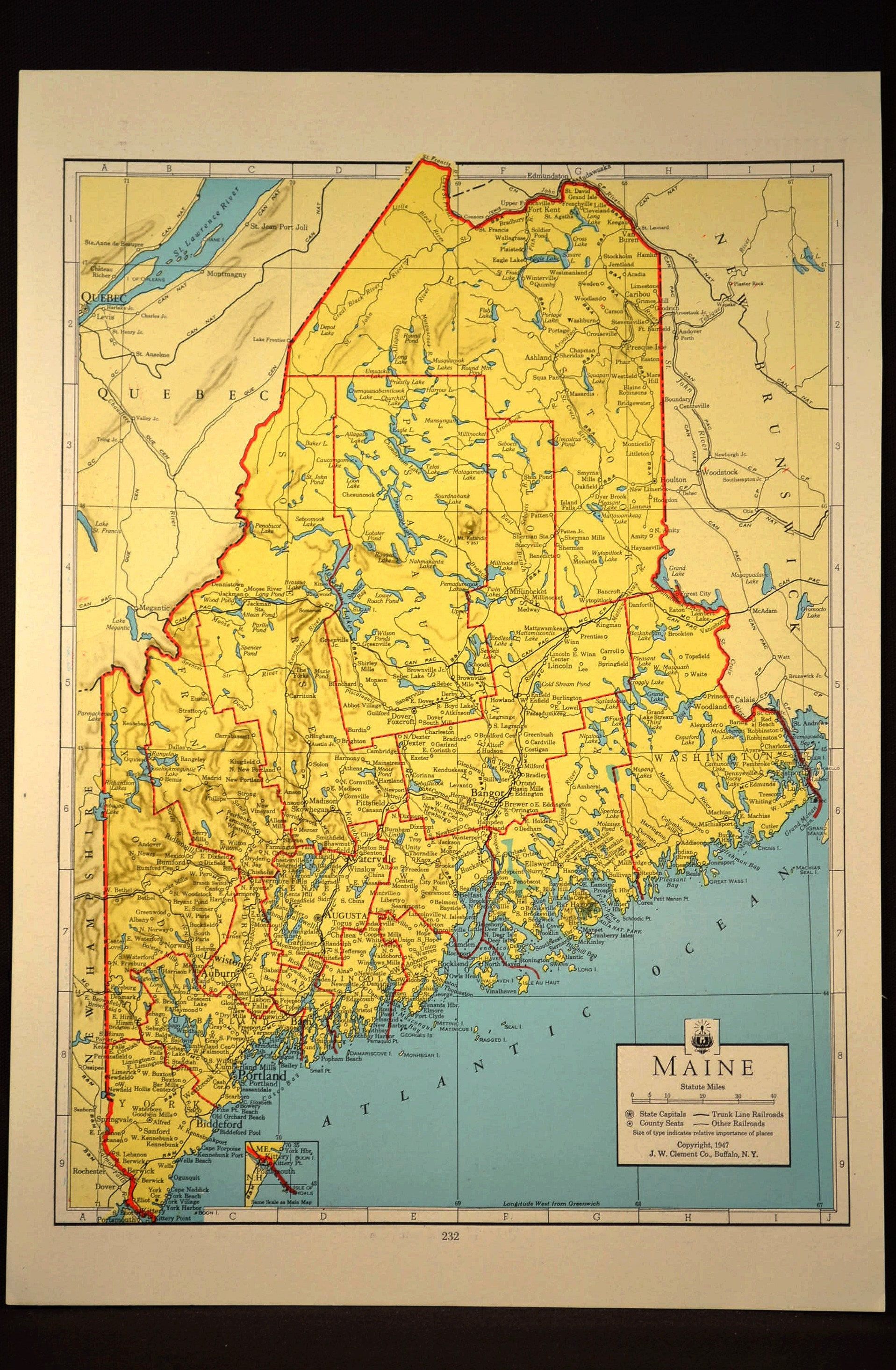 Colorful Yellow Vintage Maine Map Maine Colorful Wall Art | Map Wall ...