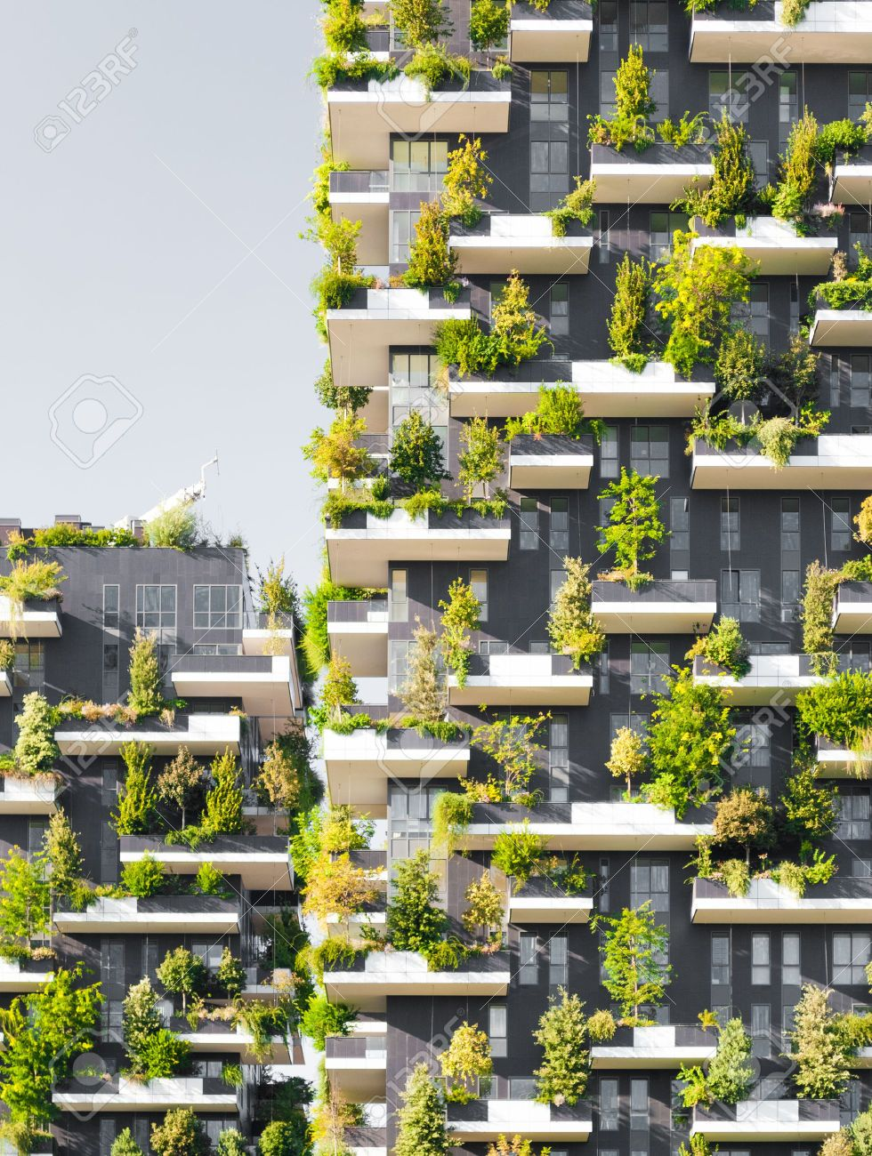 Stock Photo Vertical forest, Earthship, Residential complex