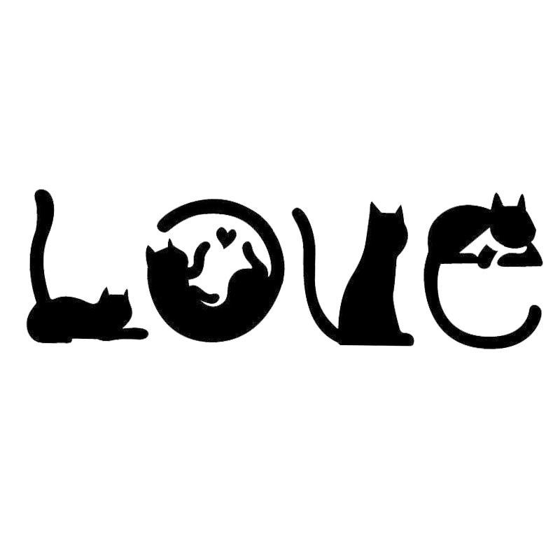Love Cats Car Sticker - Kitty Cat Gifts - FREE SHIPPING