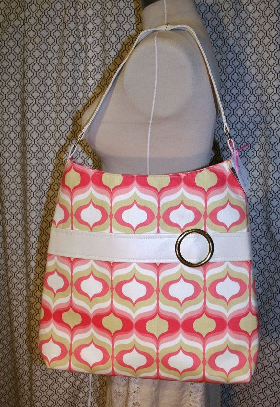 Pink Retro Fabric Womens Work Tote, Black Fabric Tote Bag, Travel Bag - Chelsea Bag  So you need a bigger bag for work or school or traveling…or just