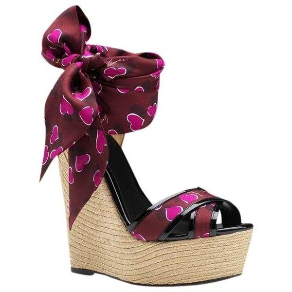 2364b24112e Pre-owned Gucci Carolina Espadrilles Heels Wedges Hearts Satin Tie ...