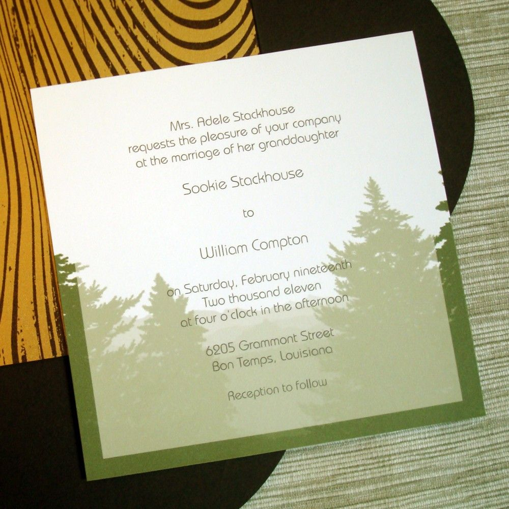 Rustic Wedding Invitations with Evergreen Trees Mountains and ...