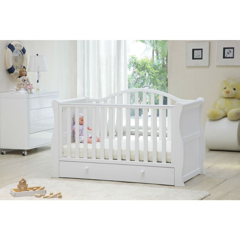 - Babylo Sleigh Cot Bed (White) Sleigh Cot Bed, Sleigh Cot, Cot