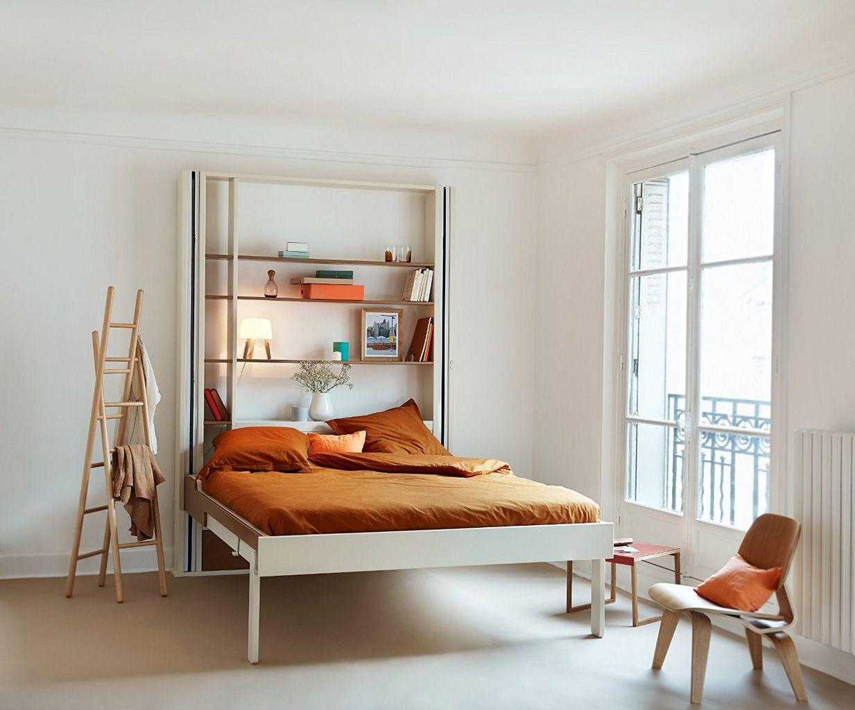 Eclectique Lit Escamotable Au Plafond Lectrique Avec Lit Baiss  # Bureau Escamotable Rangements Gain De Place