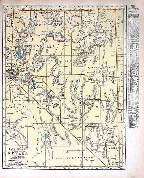 Nevada Map New Hampshire Map US State Map Vintage World - 1920 us map