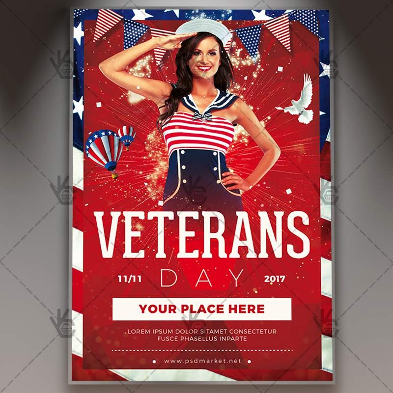 Happy Veterans Day - American Flyer PSD Template #4thofjuly - independence day flyer