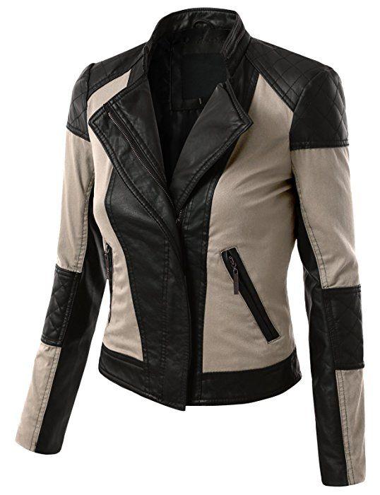 J.TOMSON Womens Faux Leather Rider Moto Jacket KHAKI SMALL  4528b4c1b